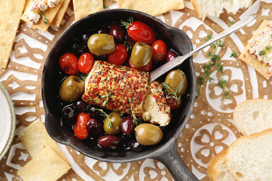 Baked Mediterranean Goat Cheese Dip