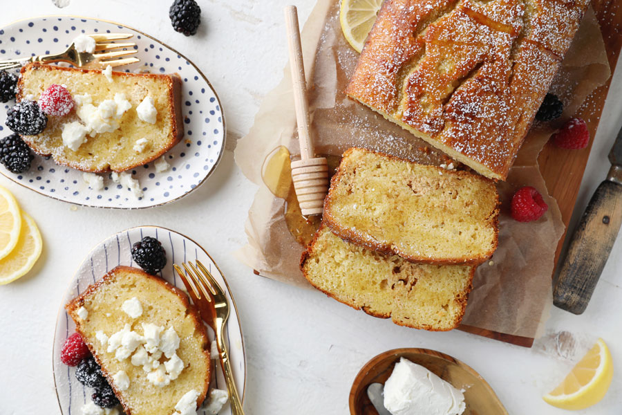 Lemon Honey Goat Cheese Pound Cake