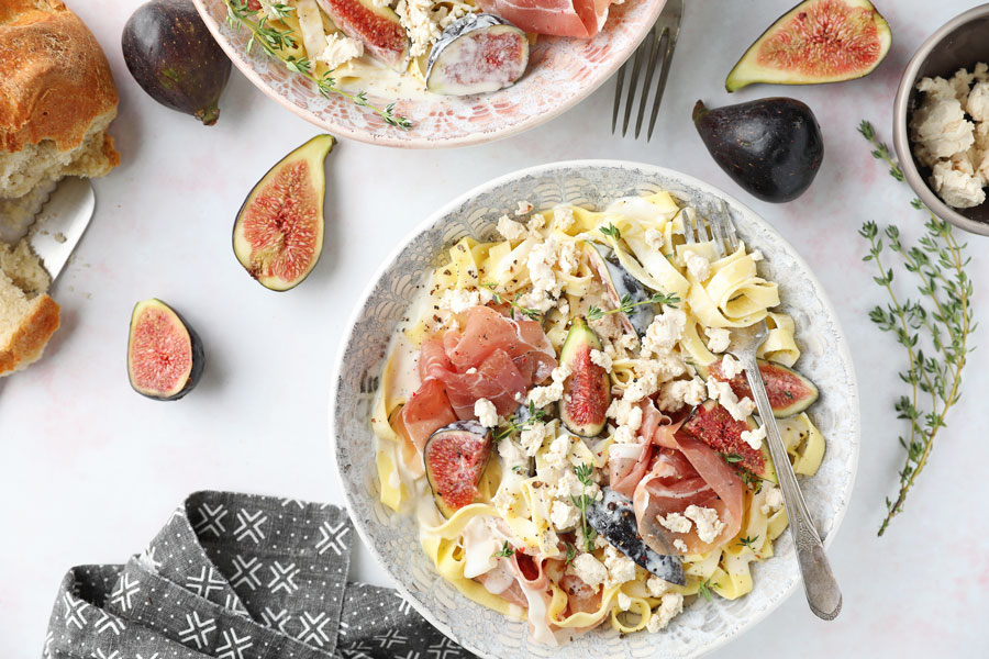 Fig and Prosciutto Tagliatelle with Fig Goat Cheese